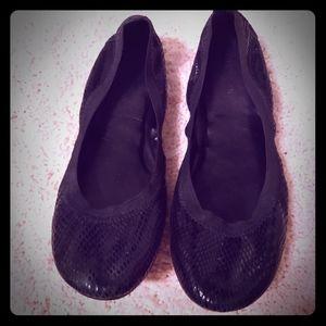 Cole Haan faux snakeskin black ballet flats